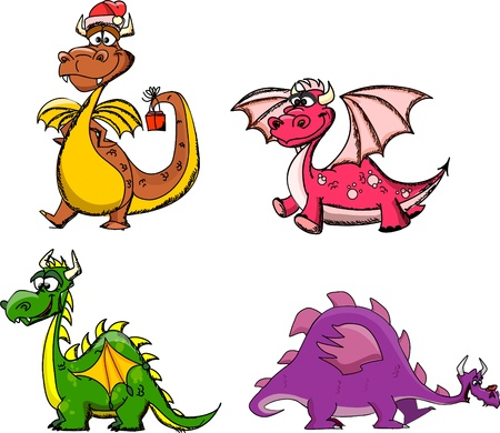 cartoon princess: Cartoon cute dragon, a symbol 2012  Illustration
