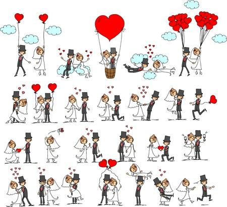 fotos de la boda de dibujos animados Ilustración de vector