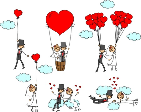 braut und bräutigam: Cartoon Hochzeit Bilder
