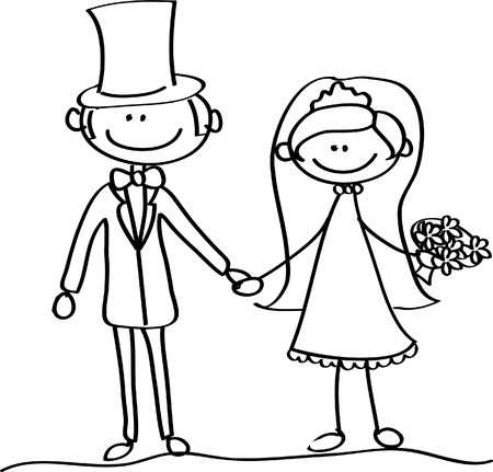 cartoon wedding couple: the bride and groom at a wedding Illustration