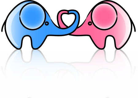 two lovers an elephant kept heart isolated  Stock Vector - 11499274