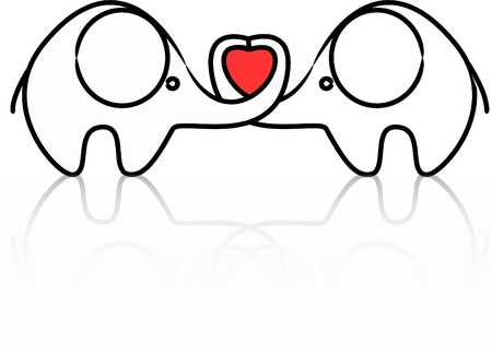 two lovers elephant kept heart isolated  Vector