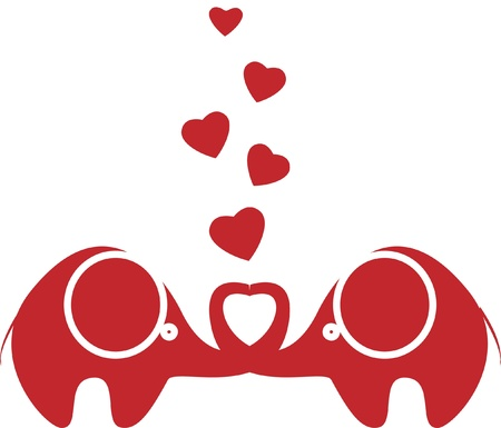two lovers an elephant kept heart isolated Stock Vector - 11499268
