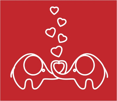 two lovers an elephant kept heart EPS Stock Vector - 11499271