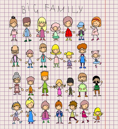 Doodle members of large families  Vector