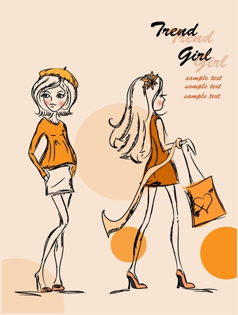 Trend vector girls  Vector