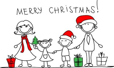 bolas de nieve: Navidad de la familia Vectores