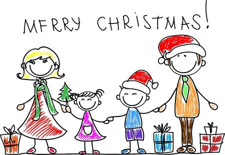 doodle art clipart: Christmas family  Illustration