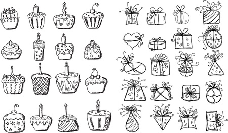 Birthday gifts and cupcakes  Vector