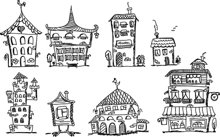 borough: Cartoon hand drawing houses