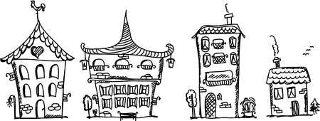 openly: Cartoon hand drawing houses