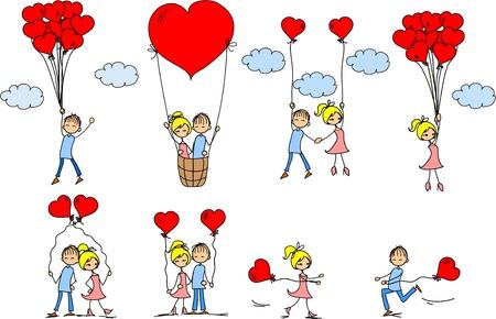 enamorados caricatura: Los amantes de los ni�os y ni�as Set