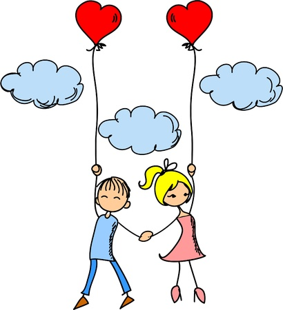 heart balloon: Girl and boy in love