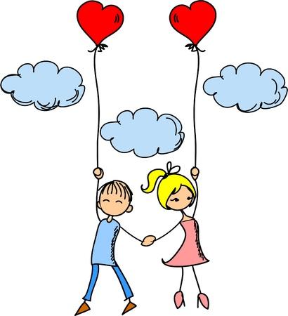 love wallpaper: Ni�a y un ni�o en el amor Vectores