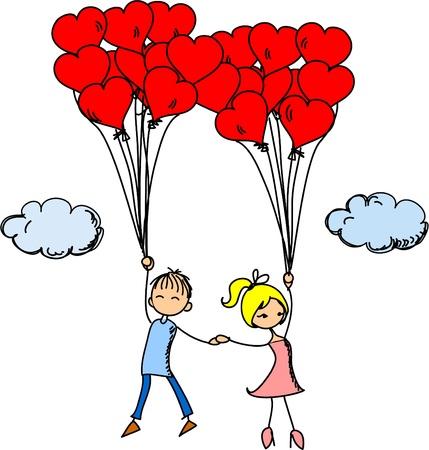 Niña y un niño en el amor