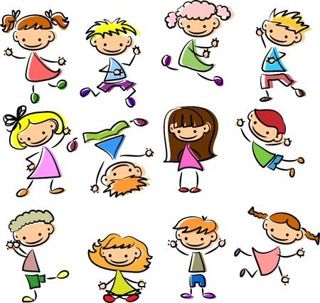 ni�os dibujando: Ilustraciones Vectoriales de Stock: Cute ni�os felices