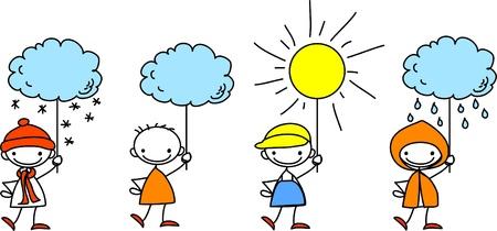 Boy heeft een teken van het weer Vector Illustratie