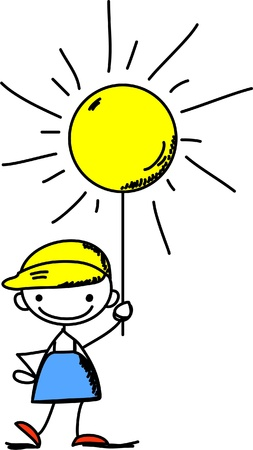 Boy holds a sign the weather Stock Vector - 11499385