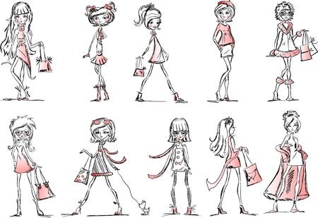modern girl: Cartoon fashionable girls  Illustration