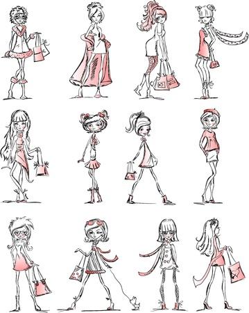 moda urbana: Chicas de moda de dibujos animados