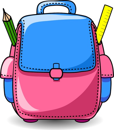 protractor: Cartoon School Bag  Illustration
