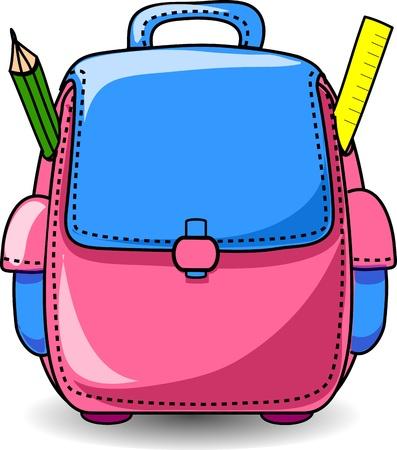 finishing school: Cartoon School Bag  Illustration