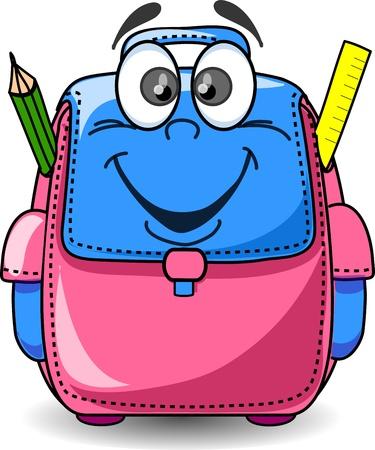 mochila escolar: Bolsa de dibujos animados Escuela Vectores