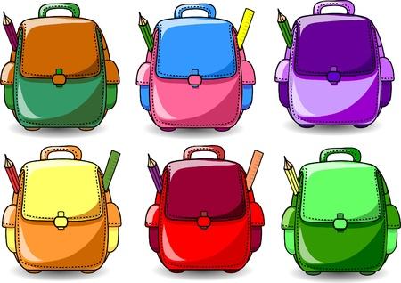 bag cartoon: Cartoon School Bag  Illustration