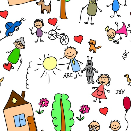child pattern seamless Vector