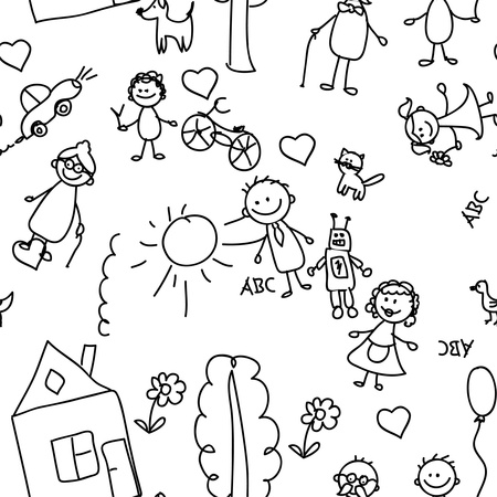 cute doodle: child pattern seamless