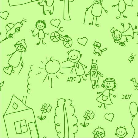 school baby: child pattern seamless  Illustration