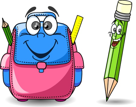 protractor: Cartoon school bag and pencil