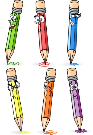 Cartoon school pencils  Vector