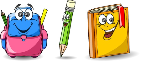 yellow notebook: Cartoon school bag, book and pencil  Illustration