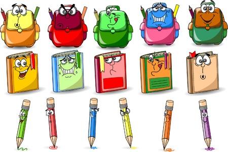 finishing school: Cartoon school bags, books and pencils