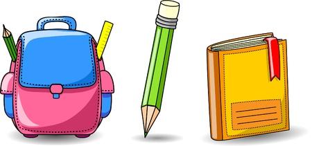 Cartoon school bag, book and pencil  Иллюстрация