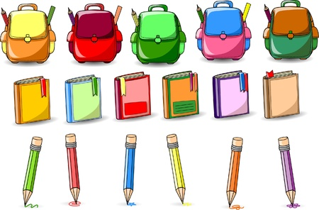 Cartoon school bags, books and pencils Vector