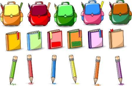 finishing school: Cartoon school bags, books and pencils Illustration