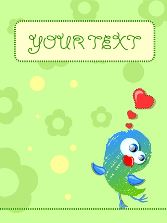 humming: Lovely birds, card for your design  Illustration