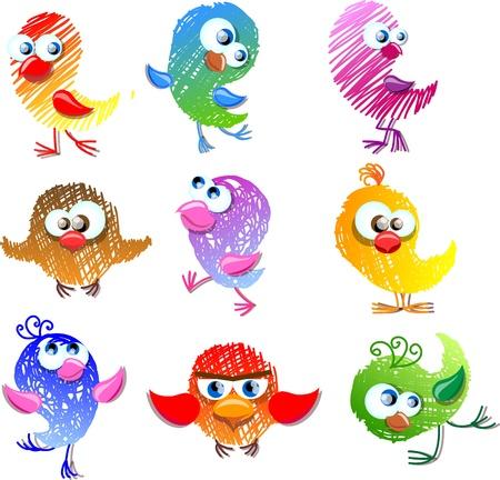 humming: Lovely birds for your design  Illustration