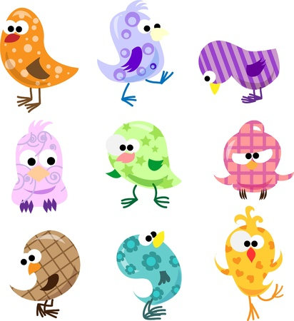 humming: Set of cute birds  Illustration