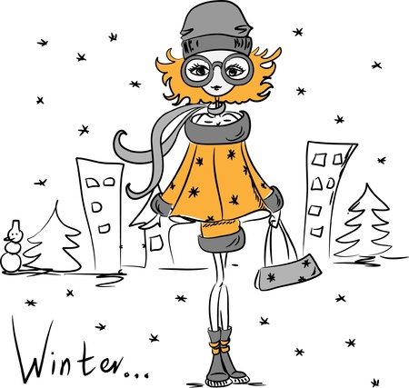 girl sketch: Cartoon fashionable girl
