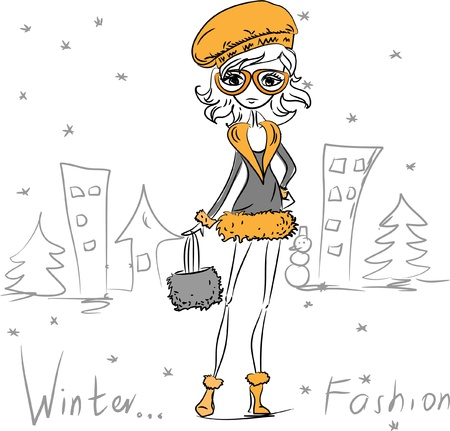 Fashion girl in town  Vector