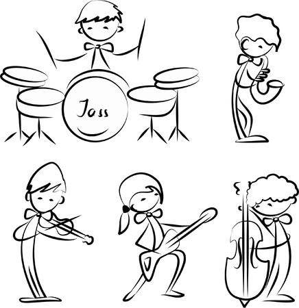 flet: zestaw ikon muzyki Ilustracja