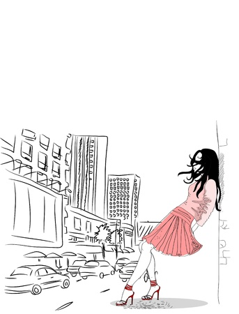 freedom of expression: Fashion girl in town  Illustration