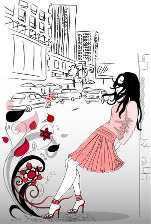 Fashion girl in town Vector