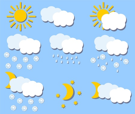 meteorologist: Paper Vector weather icons  Illustration