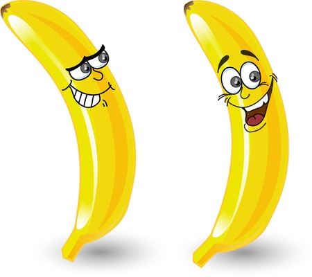 Cartoon bananas with emotions