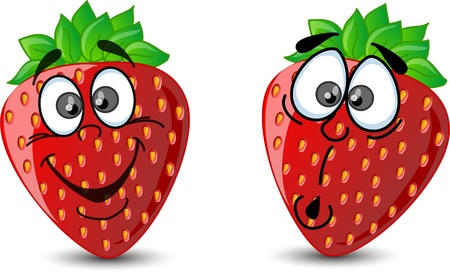 Emotion cartoon strawberries  Vector