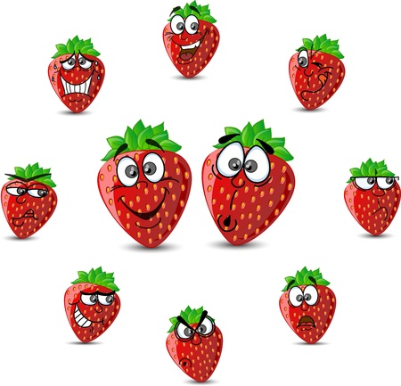 Strawberry Cartoon with different expressions  Vector